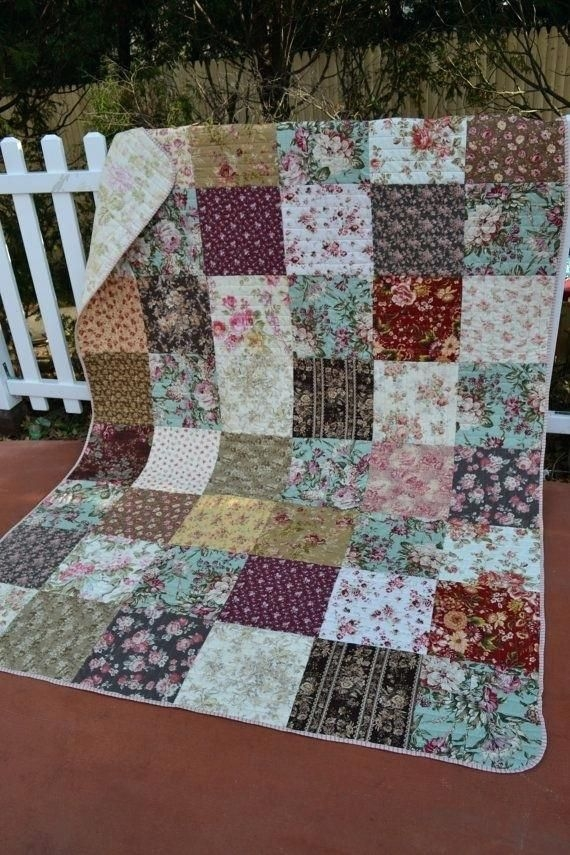 floral patchwork handmade traditional quilt cottage chic Interesting Quilting Patterns Pinterest