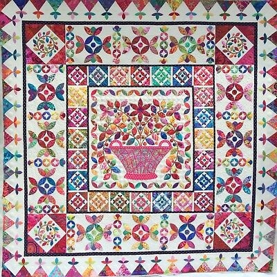 flower basket medallion applique quilt pattern kim mclean ebay Interesting Flower Basket Quilt Pattern