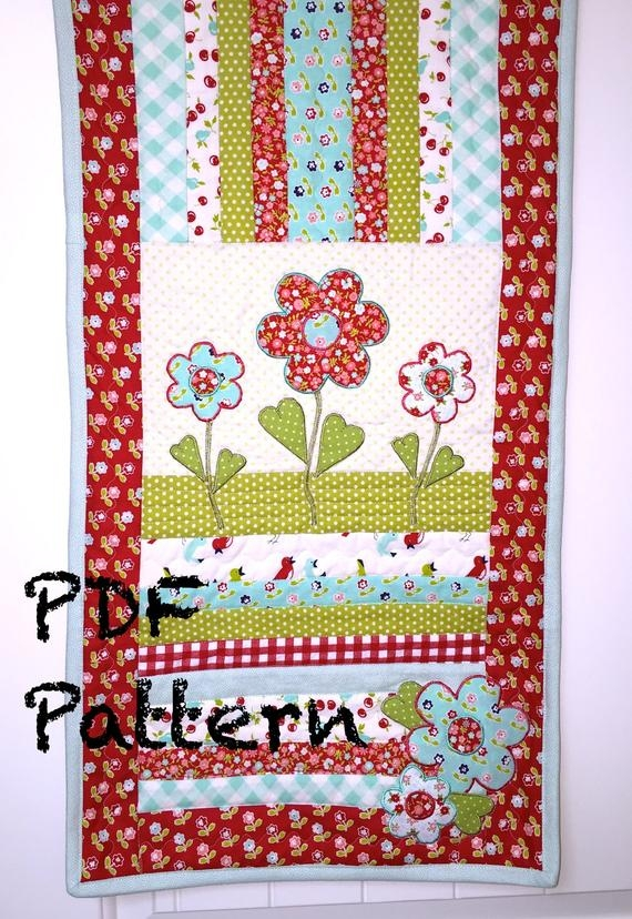 flower quilt pattern table runner quilt pattern applique pattern mug rug pattern quilt pattern pdf pattern spring quilt pattern Interesting Applique Quilt Patterns Flowers