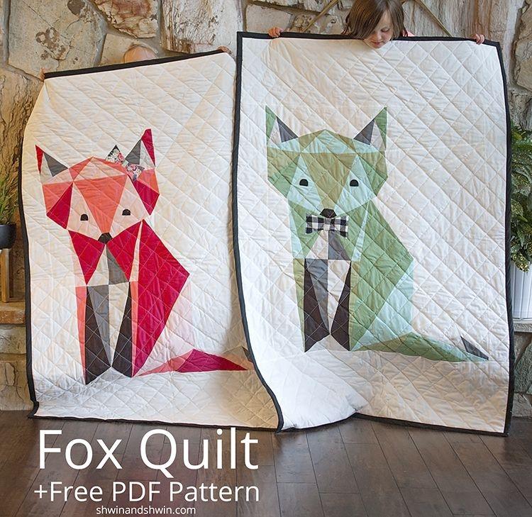 fox quilt sewing tutorials inspiration fox quilt Modern Animal Patchwork Quilt Patterns Gallery
