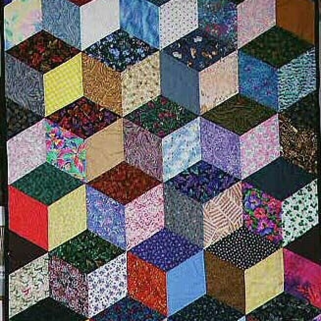 free easy quilt block patterns optical illusion tumbling Interesting Square Block Quilt Patterns Gallery