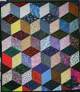free easy quilt block patterns optical illusion tumbling Modern Tumbling Blocks Quilt Pattern Gallery