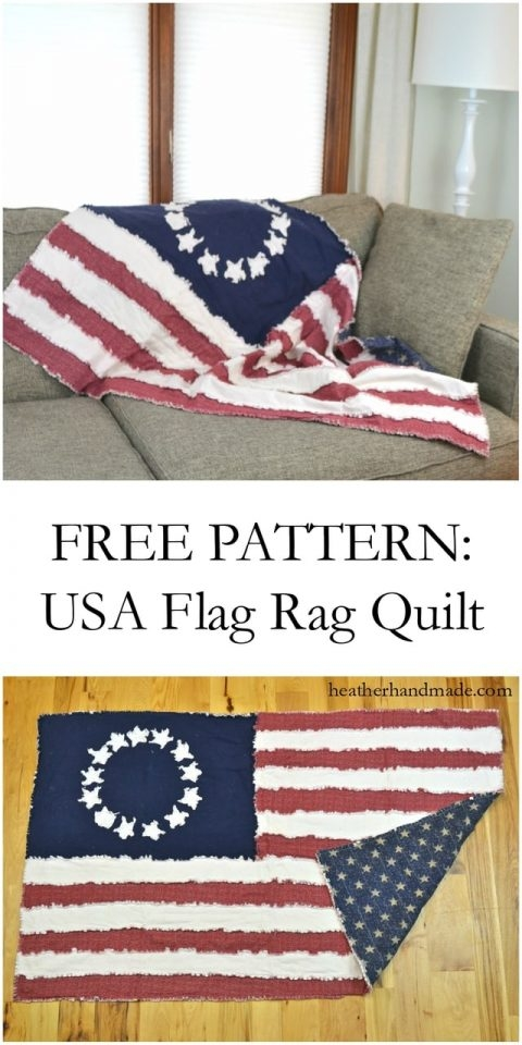 free pattern american flag rag quilt heather handmade Cool American Flag Rag Quilt Pattern Gallery