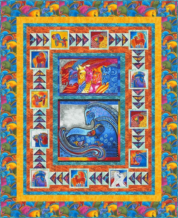 free quilt pattern embracing horses laurel burch horse Cool Laurel Burch Quilt Fabric Gallery