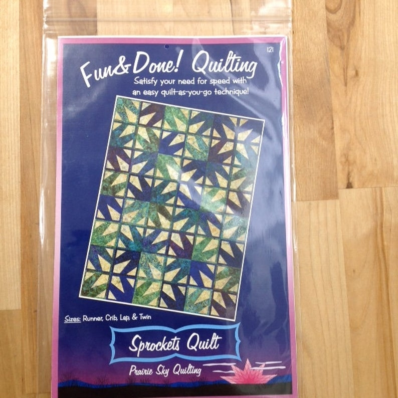 fun done quilting pattern sprockets quilt 121 quilt as you go prairie sky quilting sizes runner crib lap or twin Elegant Fun And Done Quilt Patterns