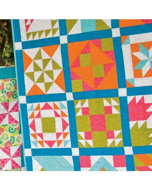 go bright sampler quilt die list fabric requirements Cozy Sampler Quilt Block Patterns Gallery
