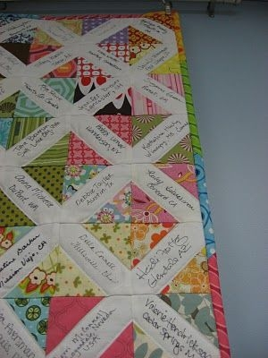 great idea for a friendship quilt take precut squares of Modern Friendship Quilt Patterns Gallery