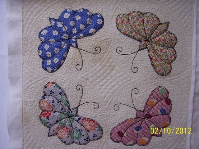 great quilting on vintage butterfly blocks butterfly Stylish Vintage Butterfly Quilt Block Patterns
