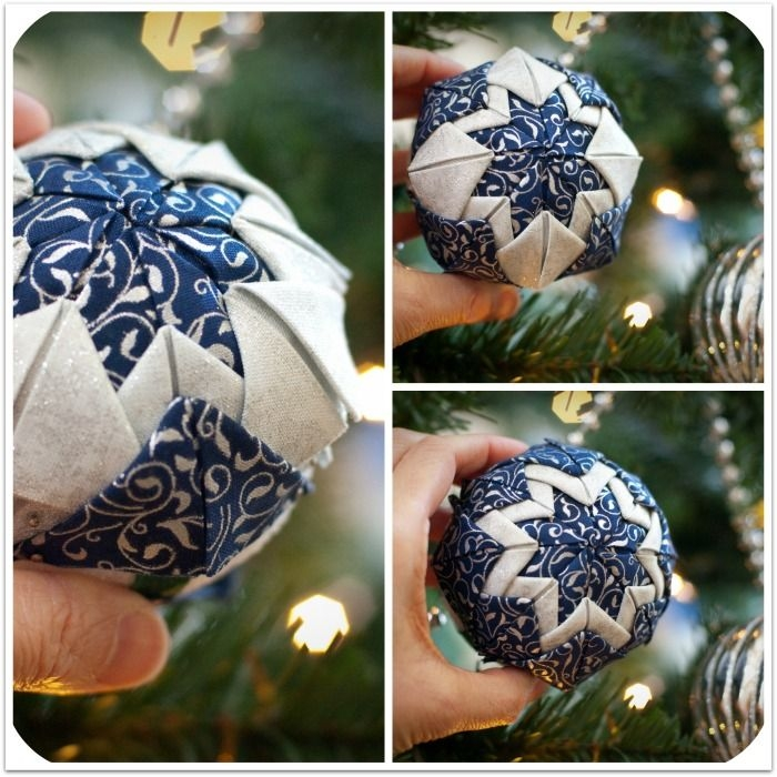 hand crafted quilted ball ornament photo tutorial Modern Quilted Ball Ornament Pattern Inspirations