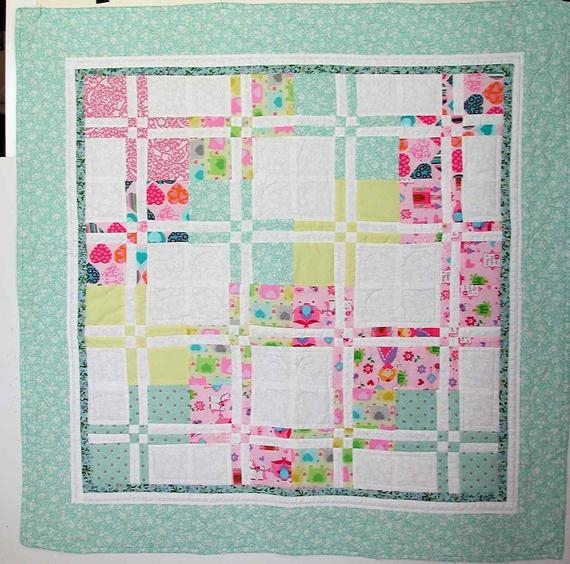 handmade four patch quilt vintage look boy quilt girl quilt traditional piecework unique ba shower gift Vintage Look Quilts