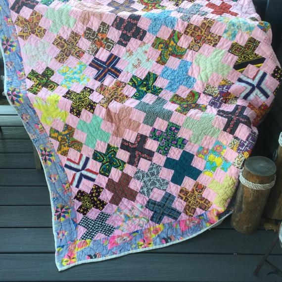 handmade quilt vintage patchwork hand quilted throw blanket cotton 72 x 82 Interesting Handmade Patchwork Quilt Vintage Gallery