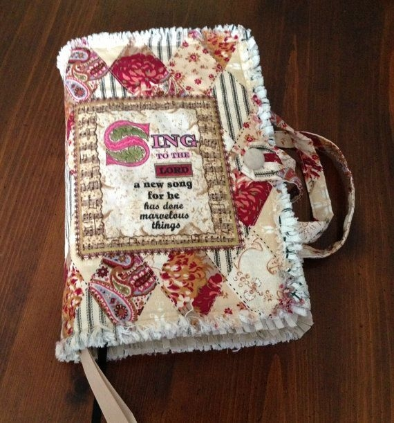handmade rag quilted bible cover beige patchwork Modern Quilted Bible Cover Pattern