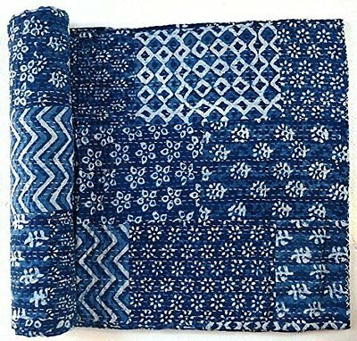 handmade vintage indigo patchwork kantha quilt throw cotton blanket bedspread ebay Vintage Indigo Quilt Gallery