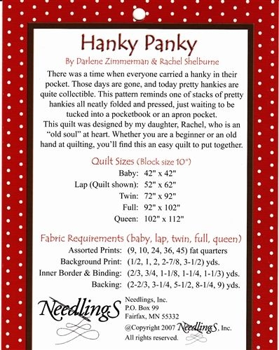 hanky panky a fat quarter quilt pattern piecing designs Hanky Panky Quilt Pattern