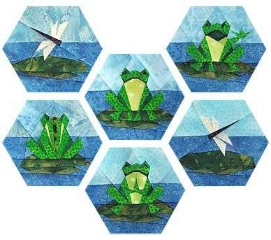 happy frog family paper pieced quilt pattern hexagon Modern Frog Quilt Block Pattern Gallery