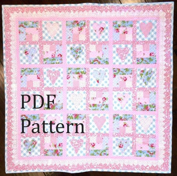 heart quilt pattern ba quilt pattern ba girl quilt Stylish Patchwork Cot Quilt Patterns Gallery