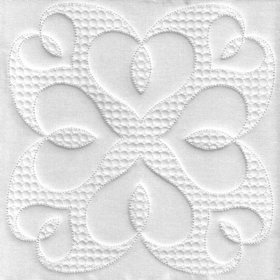 hearts quilt block trapunto quilting embroidery hearts Trapunto Quilting Patterns Inspirations