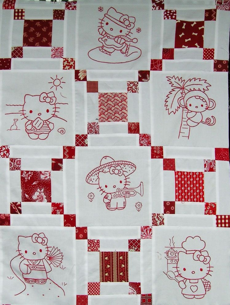 hello kitty redwork quilt really cute quilts for all Unique Hello Kitty Quilt Pattern
