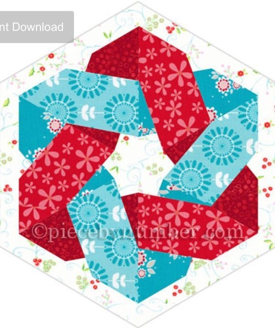 hexagonia quilt block pattern paper pieced quilt pattern Interesting Hexagonia Quilt Designs