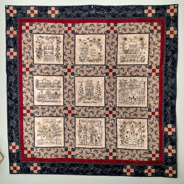 home and heart blackwork quilt hand embroidery Elegant Embroidered Quilts Patterns Inspirations