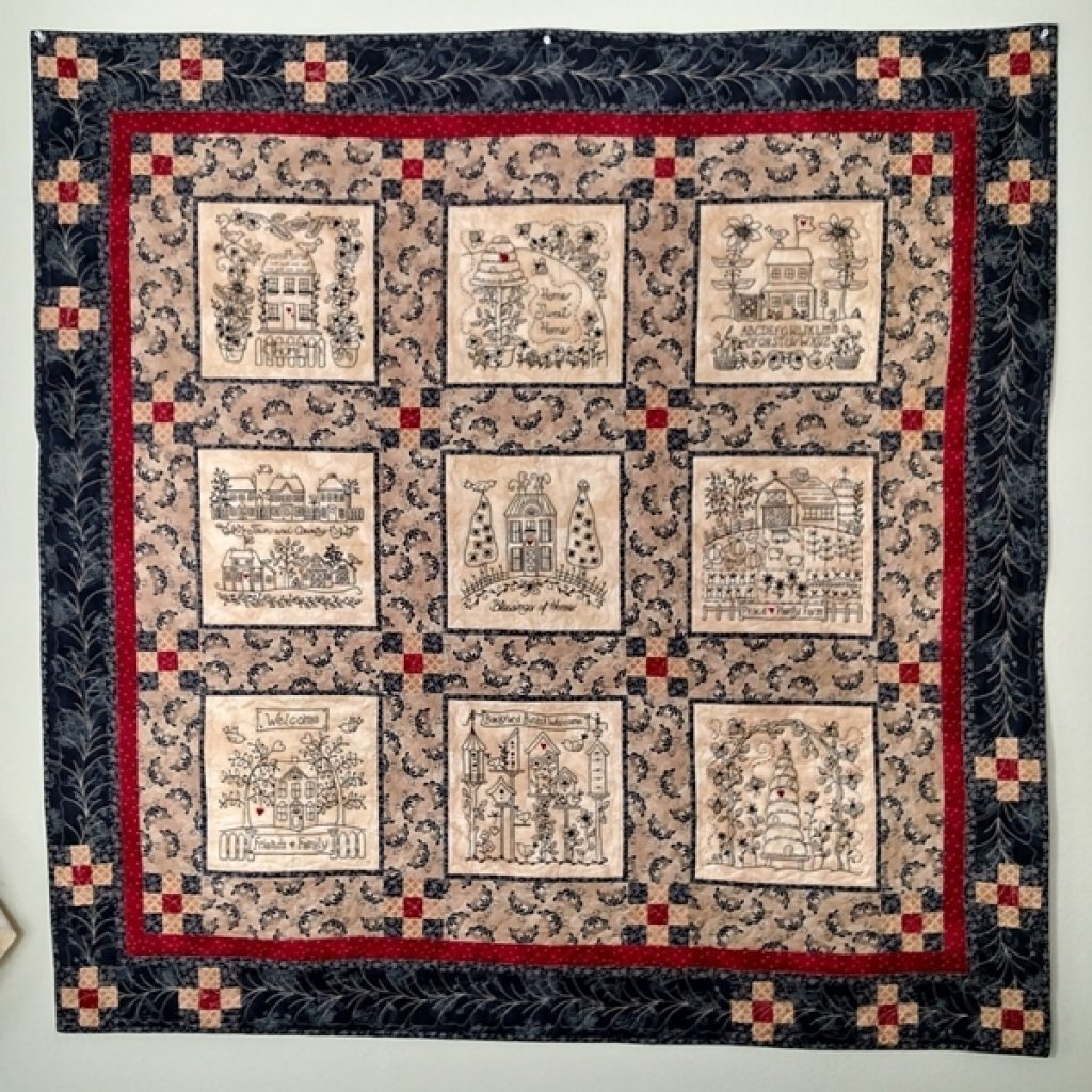 home and heart blackwork quilt hand embroidery Stylish Hand Embroidered Quilt Patterns