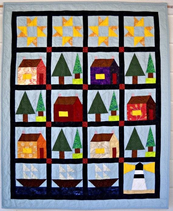 home the sea quilt pattern curlicue creations beach quilting pattern wall hanging quilt pattern house quilt Cozy By The Sea Quilt Pattern Gallery