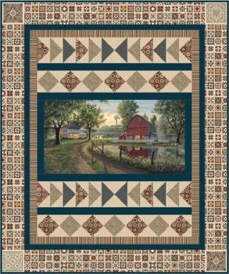homestead quilt pattern ucq p62 panel quilts panel Fabric Panel Quilt Patterns Inspirations