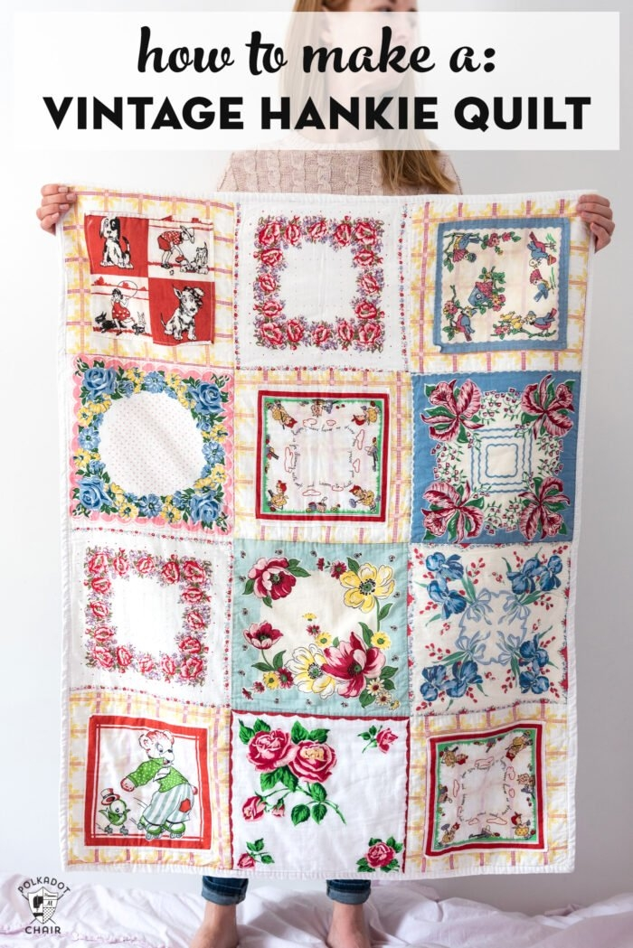 how to make a quilt from vintage hankies polka dot chair Hanky Panky Quilt Pattern