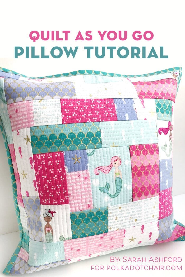 how to make a simple patchwork pillow using the quilt as you Cool Quilted Pillows Patterns Inspirations