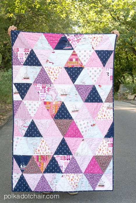 how to make a triangle quilt on the polka dot chair blog Cozy Triangle Pattern Quilt Inspirations