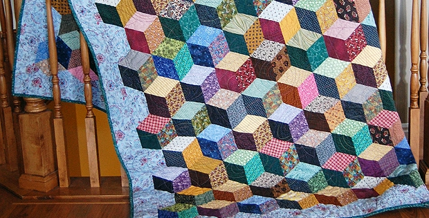 how to make tumbling blocks without y seams quilting digest Modern Tumbling Blocks Quilt Pattern Gallery
