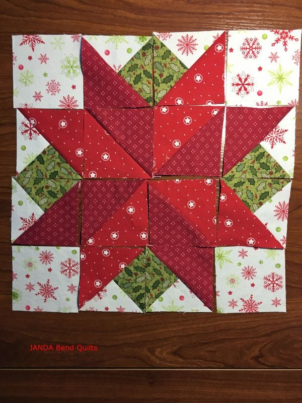 i wish you a merry qal block 7 poinsettia janda bend Modern Poinsettia Quilt Block Pattern Gallery