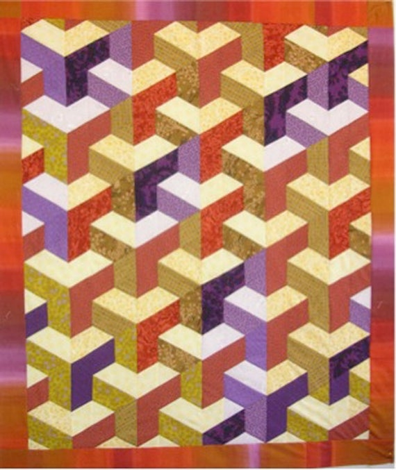 inner city quilt pattern lessa siegele 3d geometrical fascinating the illusion of city buildings clever strip pieced no y seams Elegant Inner City Quilt Pattern