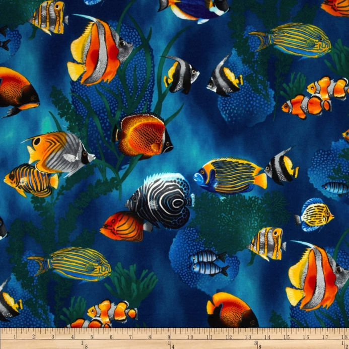 island sanctuary sea tropical fish cobalt fabric Interesting New Fish Fabric For Quilting