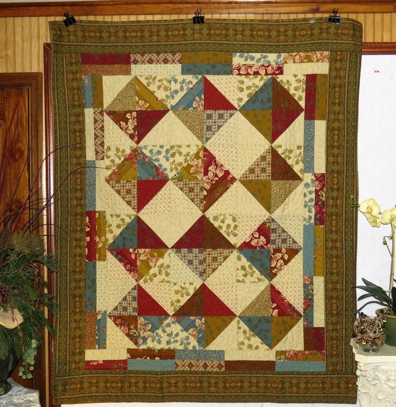 jeweled lap or throw quilt civil war quilt gold red green and brown quilt quilts for sale Cool Elegant Civil War Quilt Fabric