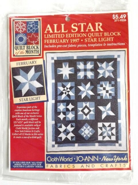 joann all star limited edition quilt block of the month february 1997 star light New Joann Quilting Fabric Gallery
