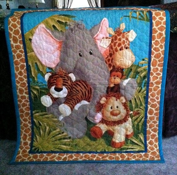 jungle ba quilt panel blanket nursery wall hanging olive Elegant Baby Quilt Panels Gallery
