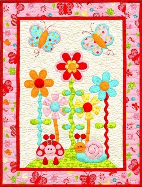 kids quilts in the garden butterfly flower applique quilt Modern Flower Applique Quilt Patterns Inspirations