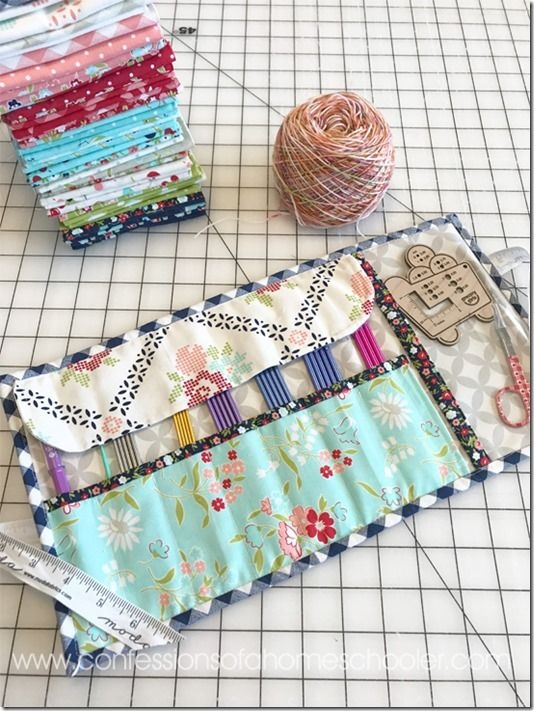 knittingneedlecase4 quilt and sewing patterns knitting Elegant Quilted Knitting Needle Case Pattern