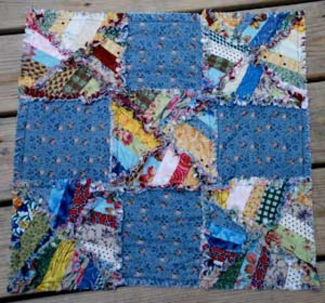 learn how easy it is to make string pieced nine patch quikt Elegant String Pieced Rag Quilt Pattern