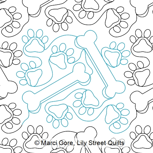 lily street digitized longarm quilting patterns give a dog Elegant Quilt Pattern For A Dog Bone