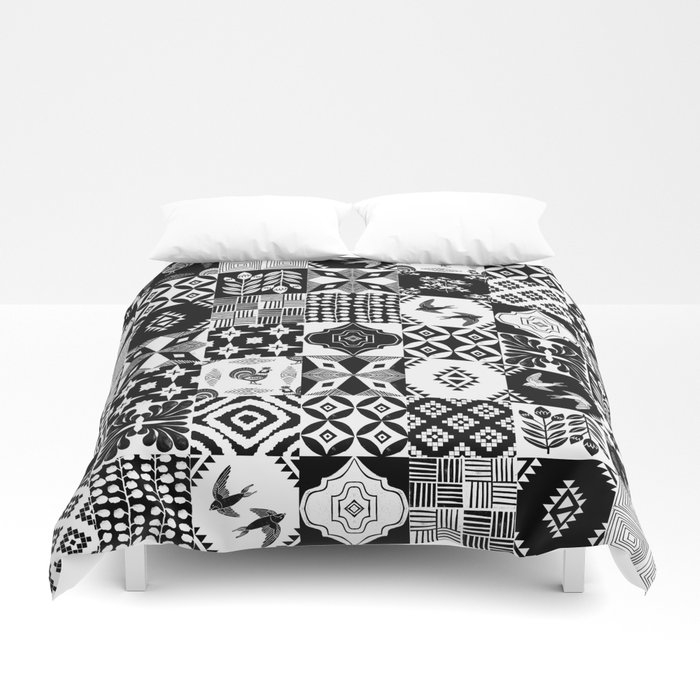 linocut tiles patchwork quilt pattern black and white decor duvet cover monoo Interesting Patchwork Quilt Duvet Cover Pattern Gallery