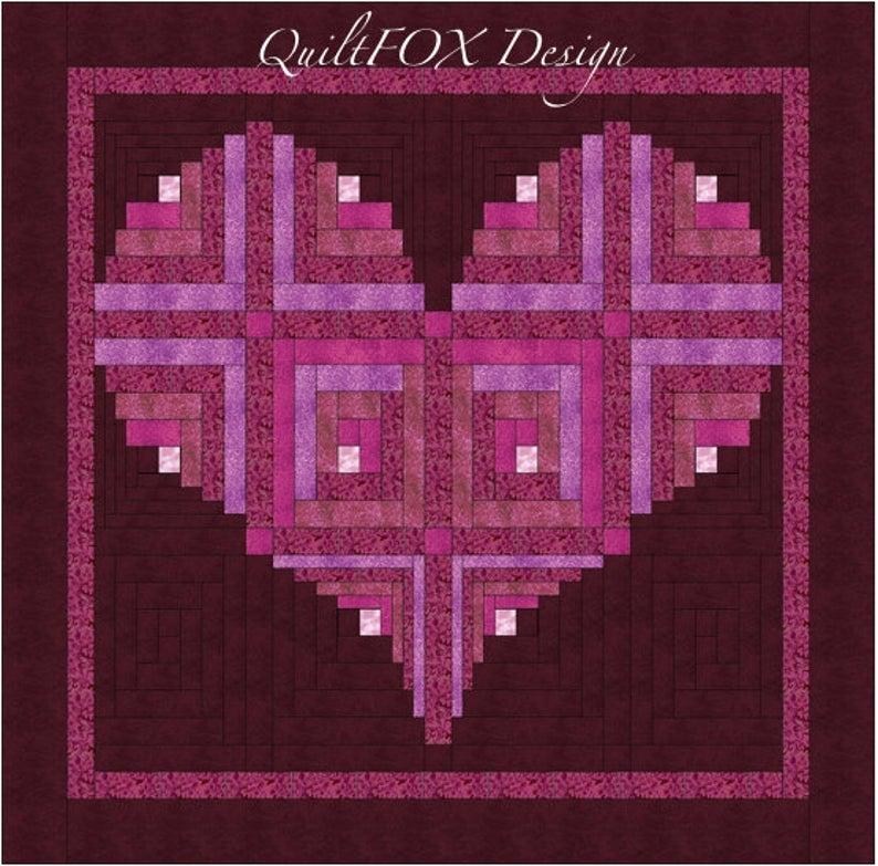 log cabin heart quilt pattern valentine love wall hanging 40 x 40 Unique Log Cabin Heart Quilt Pattern