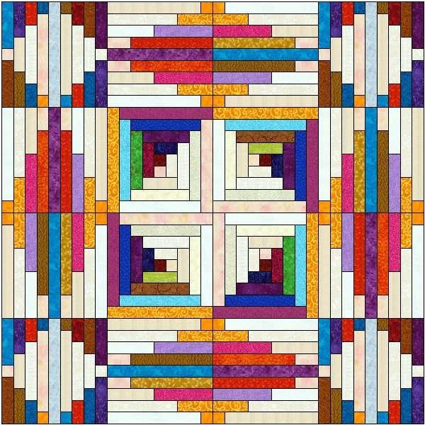 log cabin quilt pattern variations 7x7 arrangement showing Unique Log Cabin Quilt Pattern Variations Gallery