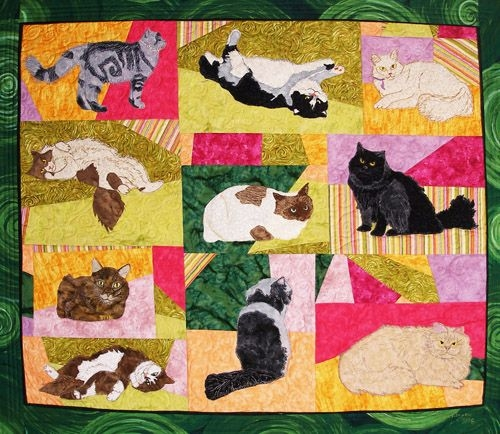 long haired cats pattern Elegant Cat Applique Quilt Patterns