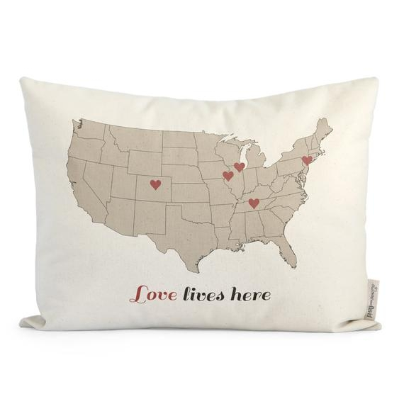 love lives here customized map pillow gift for mom housewarming gift for parents holiday decor throw pillows insert included Elegant Duch Boy Quilt Pillow Accesdoriies Gallery