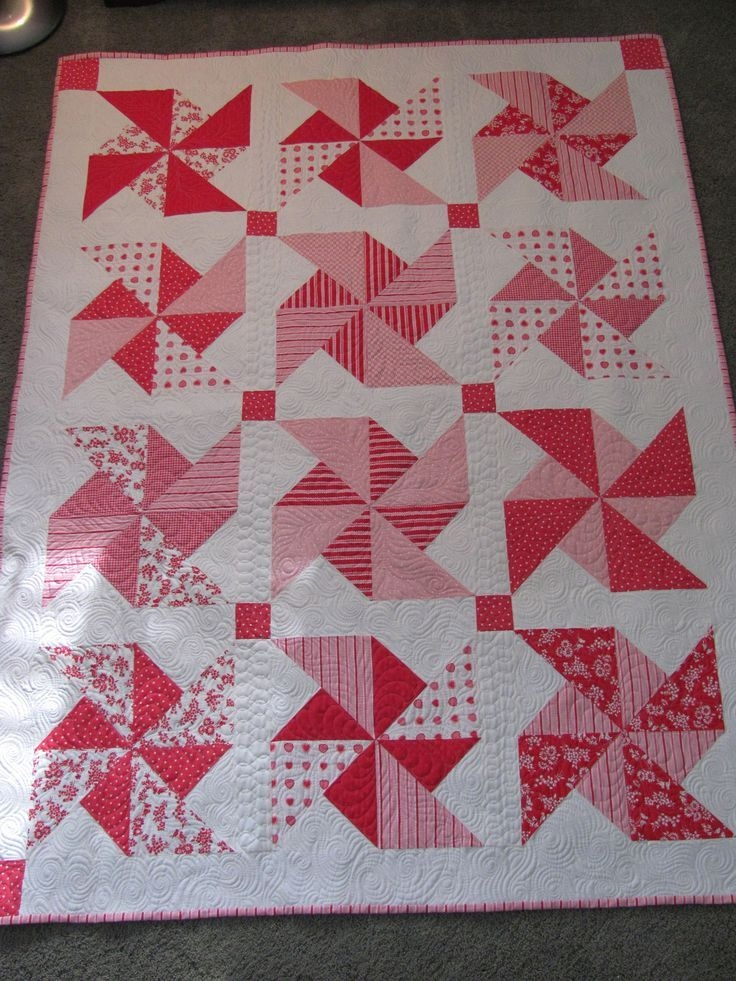 machine quilting pinwheel quilt blocks pretty in pink Unique Pinwheel Quilts Patterns Gallery