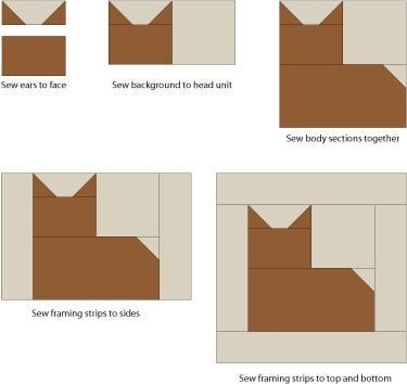 make cat quilt blocks for your feline loving friends Cool Patchwork Cat Quilt Block Patterns Gallery