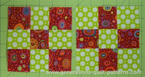 making nine patch quilt blocks is as easy using just two Interesting Nine Square Quilt Patterns