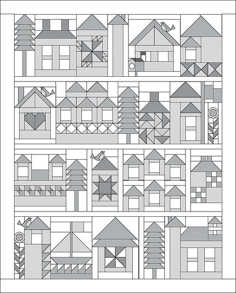 moda be my neighbor free quilt pattern quilts house Stylish House Block Quilt Pattern Gallery